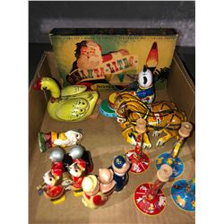 Rare toys, circus, wind ups, puzzles, Monroe hockey game with acces (10 team league)