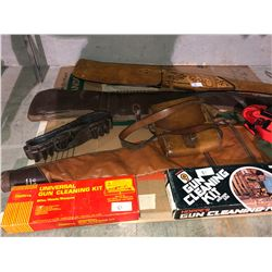 Various gun cases, gun cleaning kits, scavered case with décor leather