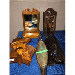 2 shaving mirrors, wood cowboy, Aftican mask, soldier