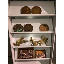 9 pieces of John Deere décor plus other copper & brass décor