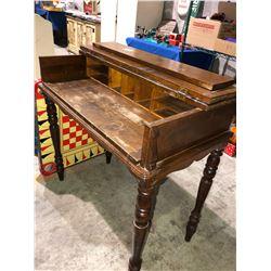 Original secretary desk w/organizer, 2 antique crokinole boards