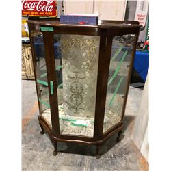 Hand painted divider, curved victorian curio cabinet w/glass shelves