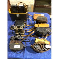 10 sets of binoculars, 1850's French brass set, old two way radios