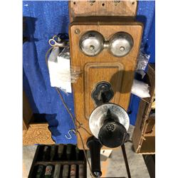 Government of Sask antique early 1900's oak wall phone