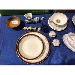 Approx 40 pieces of china, crystal, dishes, platters, Planters Peanuts mugs, Rosan English pottery (
