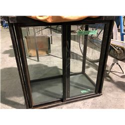 3 leather bags, glass door wood cabinet