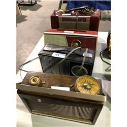 4 Antique radios, transistor, Sony, RCA x 2 Playmate, 40's to 60's