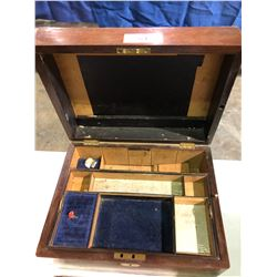 Jewellry case w/hidden drawer, framed pin/button collection, P.M. of Canada medallions