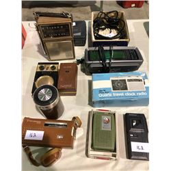 9 collector radios, travel radios w/alarms