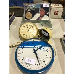 Michael Jackson clock plus 4 additional clocks (cowboy alarm clock is from 1920's
