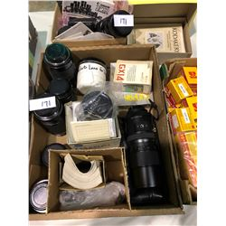9 High end camera lenses, Zeiss telephoto, Canon, Olympus plus box of film
