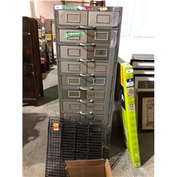 Heavy duty parts drawer, files, 11 drawer on bearing slides, coca-cola wire shelving