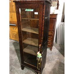 Mission style oak bookcase plus beautiful wind chime
