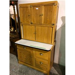 Exquisite light oak baker's cabinet with flour bin, rolled doors and porcelain work area (one of a k