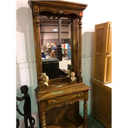 Oak mirrored halltree w/locking drawer and 1953 Queen Elizabeth and Duke of Edinburgh