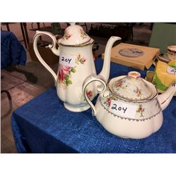 Royal Albert and American Beauty teapots