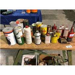 Unused oil container cans, Husky can, Atlas Texaco cans plus ironing board, first aid