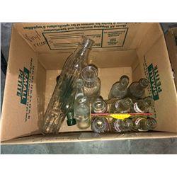 Vintage bottles, Planters Peanuts jar, old coin-op bubble gum machine w/key