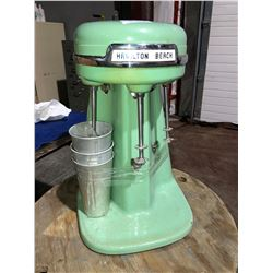 Vintage 1950's or 60's Commercial Hamilton Beach milkshake machine in retro green