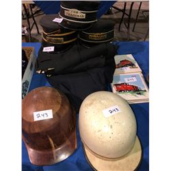 CNR & CPR Conductor Hats & Uniform plus CN Tiles plus 2 - 1930's cricket helmets (England)