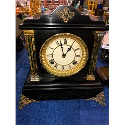Rare Waterbury mantle clock ornate brass and wood accents
