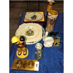 Royal Souvenir 1939 Deco vase, RNWMP 1914 Plate, King Edward VIII Plate, RCMP Plates