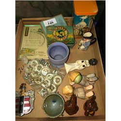 Full box of pottery, Goebel West German figurines, tea sets plus occupied Japan old tins, 2 boxes