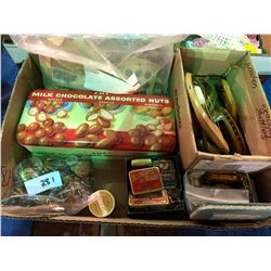 3 boxes of collectibles including chime balls, brass ring case, doillies, tins, bag full of military