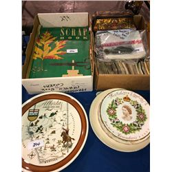 Collector plates, Queen Elizabeth antique scrapbooks, railroad keys (union, CPR, CN (very old), CP T