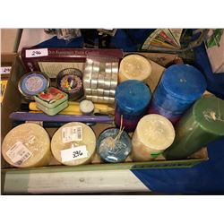 Box of candles, tins, collectible pill boxes, scissors, 1922 bicycle plates
