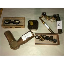Telescope elbow, pearled opera glasses, auto bank, Operex telescope