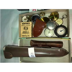 Rare Compass collection, fisherman barometer, pocket scopes, large scope