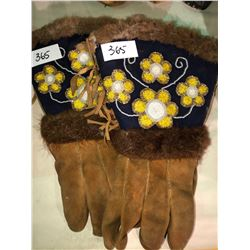 Beautifully beaded leather gloves