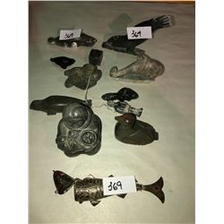 10 Inuit carvings, 1 metal Sturgeon fish art, snuff carrier