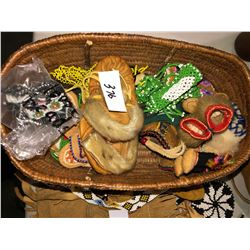 Tobacco pouch various dress beads, basket of various handmade doll clothing & shoes, etc