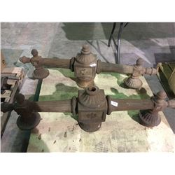 2 - 1800's cast iron lamp posts