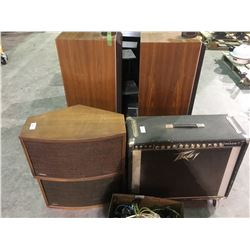 9 speakers & Peavy amp, box of electrical