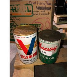 Mercury oil can full 1940's US quart, collector cans