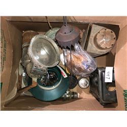 Box of lamp parts & collectibles