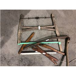 Various old tools, saw, scythe
