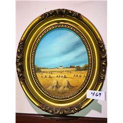 "Nettie Harder oval Prairie scene ""1988"""
