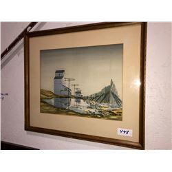 "Robert Hurley water color painting depicting grain elevator in spring 12""x16"""