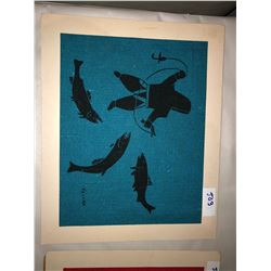 2 Inuit fabric art images ink on woven fabric - by Kalvak