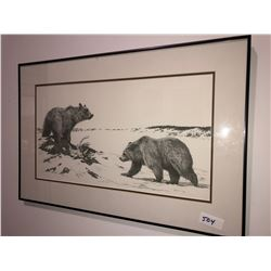 "Bernie Brown print ""On the Edge"" 1988, 14""x24"" framed"