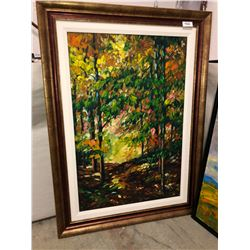 "Louise Larouche - ""Forest Scene"" oil on Canvas 20""x30"""
