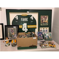 Brett Favre Lot - Autographed Bret Favre Jersey framed, various figures and photos, over 1000 loos f