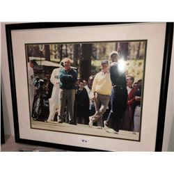 "Masters Photo - Tiger Woods, Jack Nicklaus, Arnold Palmer at Augusta framed photo 16""x20"", includes"