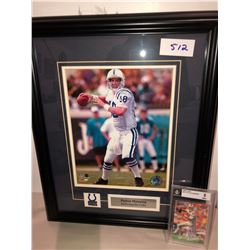 Peyton Manning Rookie Card graded 8/10 from Beckett, Peyton Manning Framed 8x10 photo