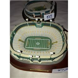 "Pair of Lambeau Field Replica Figures, old Lambeau and new Lambeau, approx 8""x8""x3""tall"