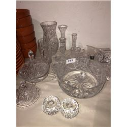Lot of various pinwheel crystal, candle holders, butter dish, cream & sugar sets, various vases & bo